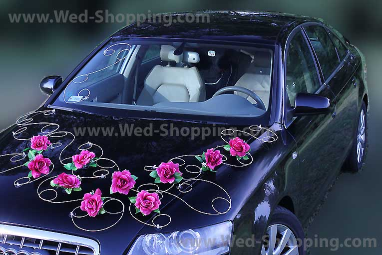 Coeurs roses orchid es blanches voiture mariage - Kit decoration voiture mariage ...