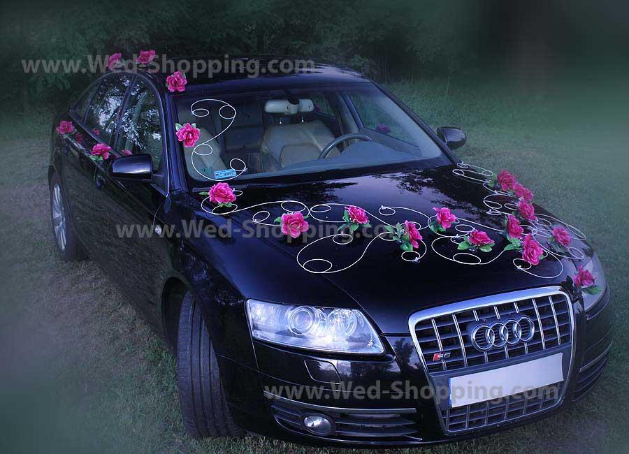 décoration de mariage décoration voiture mariage bourgogne roses