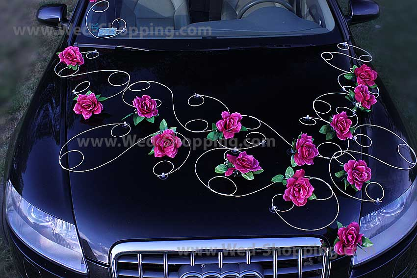 D coration voiture mariage bourgogne roses - Decoration voiture mariage ventouse ...