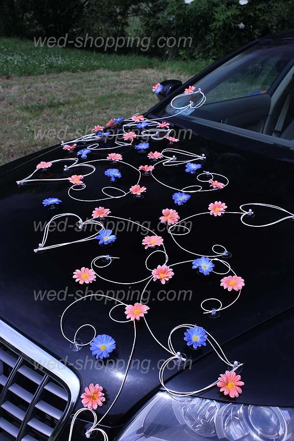 Décoration de voiture de Mariés Marguerites pêche et bleu