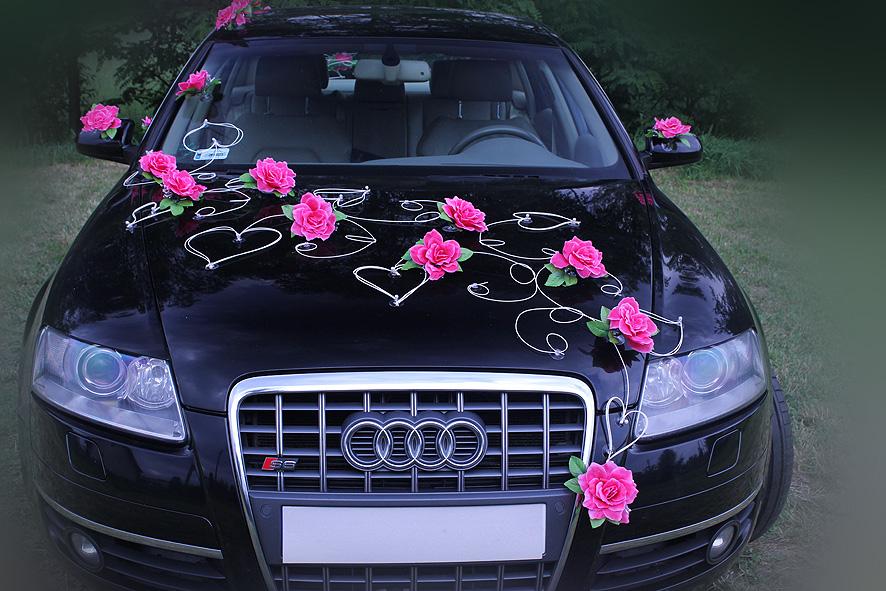 Decoration voiture de mari s fushia roses roses et le coeur - Decoration voiture mariage sans fleur ...