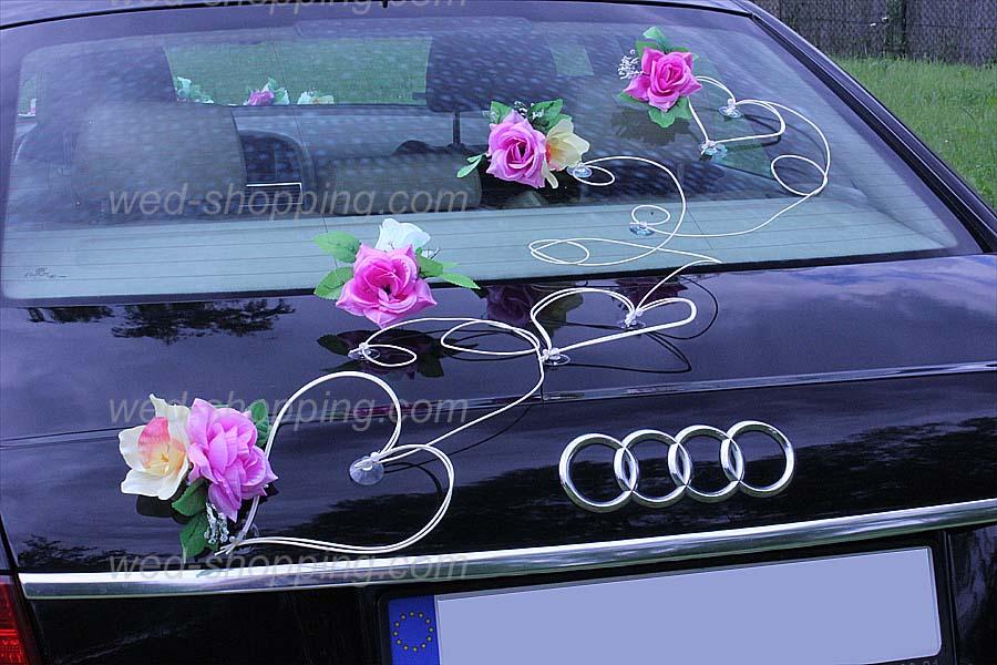 Décoration voiture de mariage Fleurs mauve-ivoire
