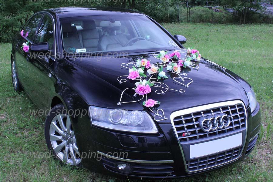 d coration voiture de mariage fleurs mauve ivoire