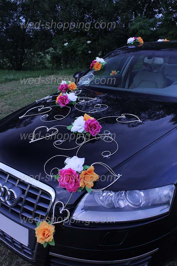 Décorations pour voiture des Mariés. Fleurs artificielles, rotin et ...