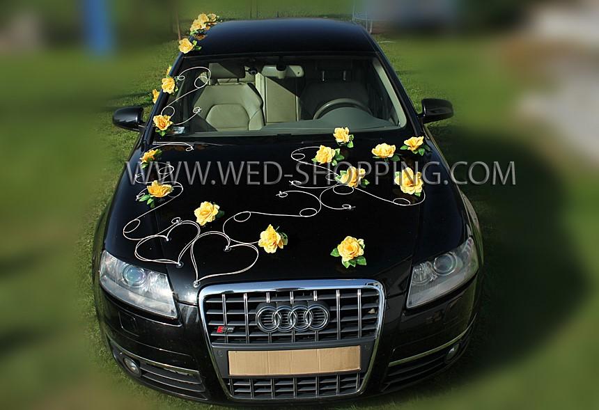 décorations pour voiture des mariés fleurs artificielles rotin