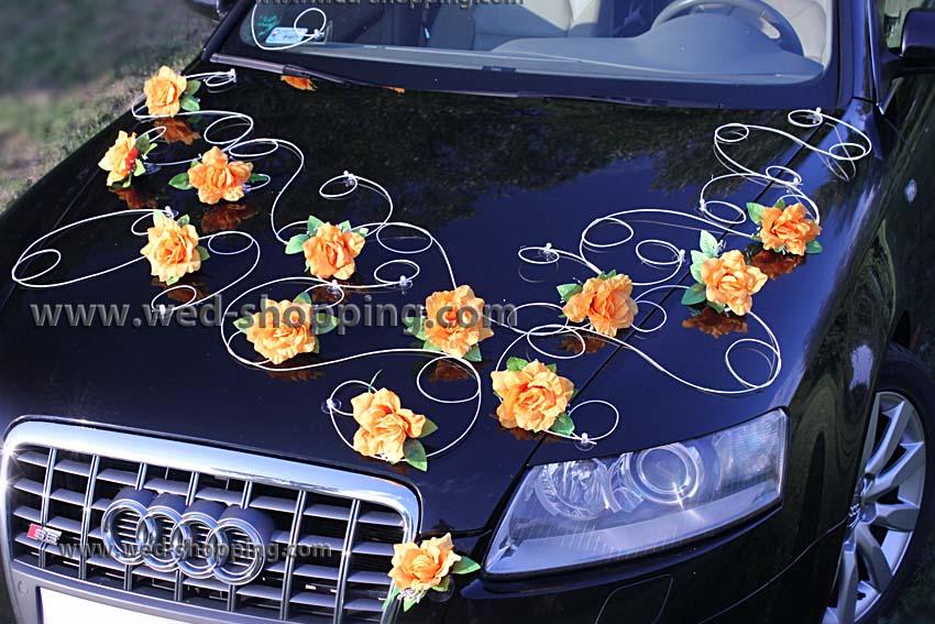 dcoration voiture balai roses oranges - Voiture Balai Mariage