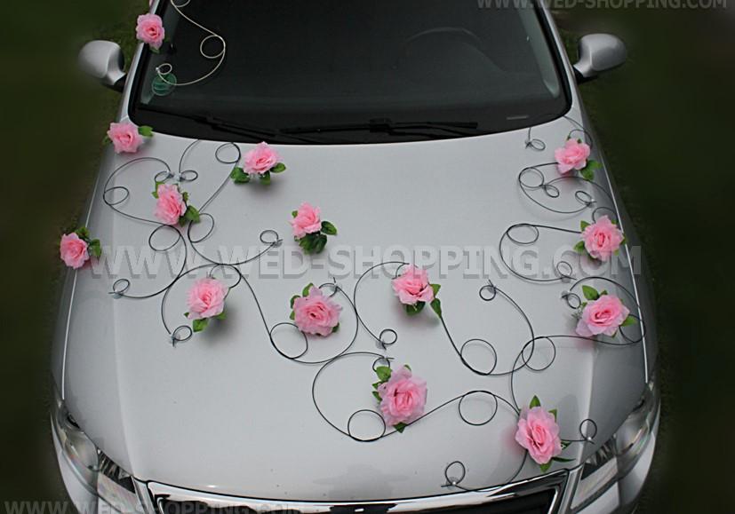 D coration voiture mariage roses roses noir rotin - Decoration voiture mariage noir et blanc ...